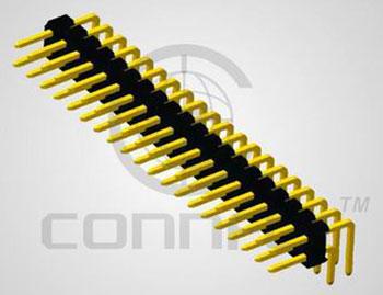 Штыри 2x40 конт. шаг 2.00 мм, пр. угол на плату (2.8/ 4.0 мм) (ан. PLD2-80R*) Connfly DS1025-06-2*40 P8BR1 - DS1025-06-2*40 P8BR1